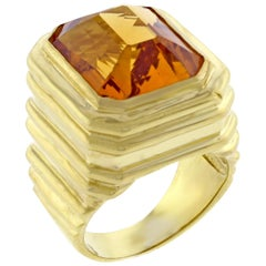 Marlene Stowe Step Cut Citrine Large Gold Ring