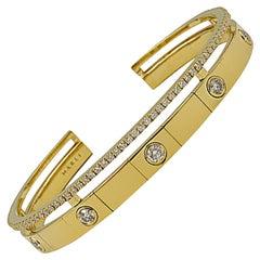 Marli Diamond Yellow Gold Slip on Cuff Bangle Bracelet