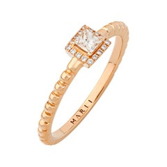 Marli New York 18 Karat Gold Rock Square Ring