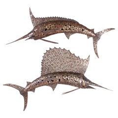 Marlin and Sailfish Wall Sculptures