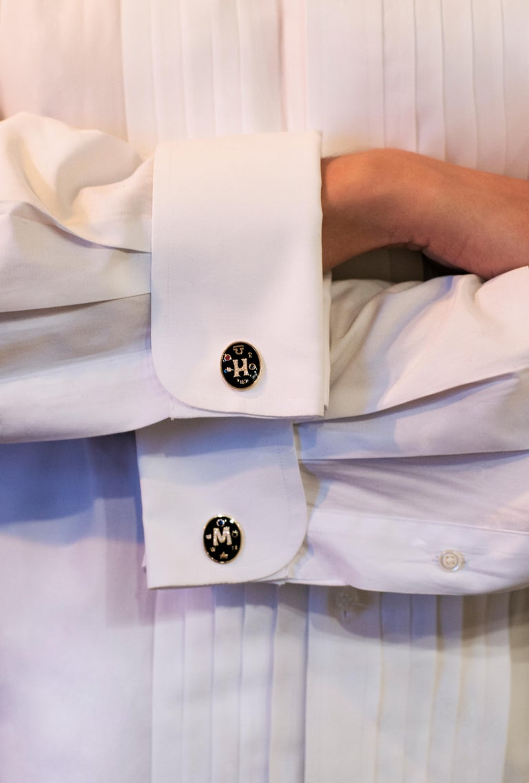 Marlo Laz's completely bespoke men's cufflinks make for the most amazing gift for  every gentlemen. With a backdrop of black enamel, diamond initials are the centerpiece for these exquisite 14 karat gold cufflinks, surrounded by unique details