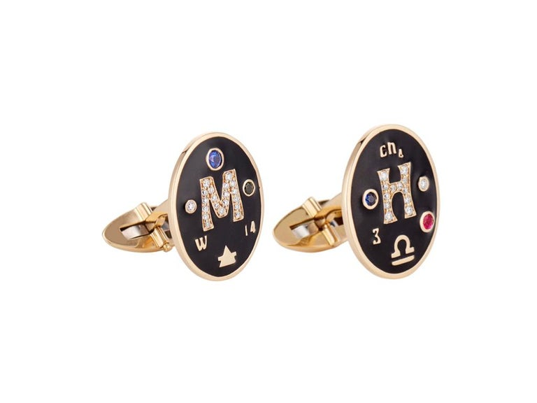 Contemporary Marlo Laz 14K Gold Men's Bespoke Cufflinks with Diamonds Zodiac Sign Birthstones For Sale