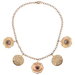 Marlo Laz La Trouvaille 5 Coin Charm Necklace 14 Karat Gold