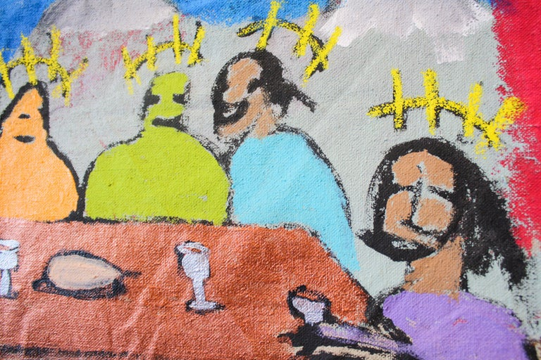 The Last Suppa  - Brown Figurative Painting by Marlos E'van