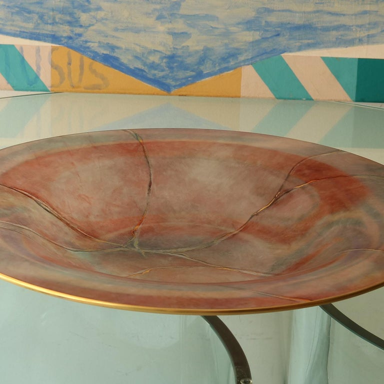 Italian Marmo Large Pink Plate with Gold For Sale