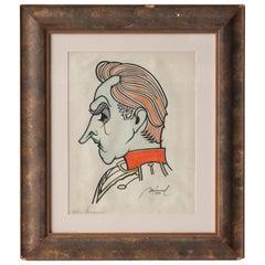 Mármol John Barrymore Portrait Framed Handmade Drawing, Spain, 1939