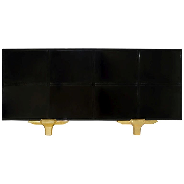 Marmont Buffet in Lacquered Ebony and Matte Gold by Badgley Mischka Home For Sale
