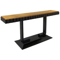 Marmont Console in Lacquered Ebony and Gold Leaf by Badgley Mischka Home