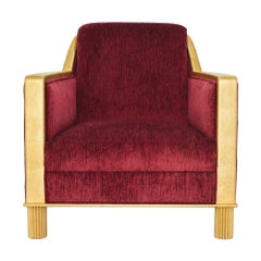 Marmont Lounge Chair in Matte Gold & Crimson by Innova Luxuxy Group