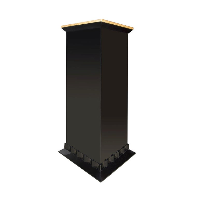 Marmont Pedestal in Lacquered Ebony and Gold Leaf by Badgley Mischka Home 2