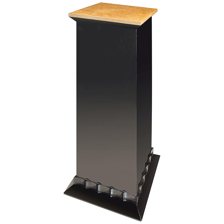 Marmont Pedestal in Lacquered Ebony and Gold Leaf by Badgley Mischka Home 1