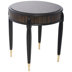 Marmont Side Table in Lacquered Ebony & Macassar Wood by Innova Luxuxy Group
