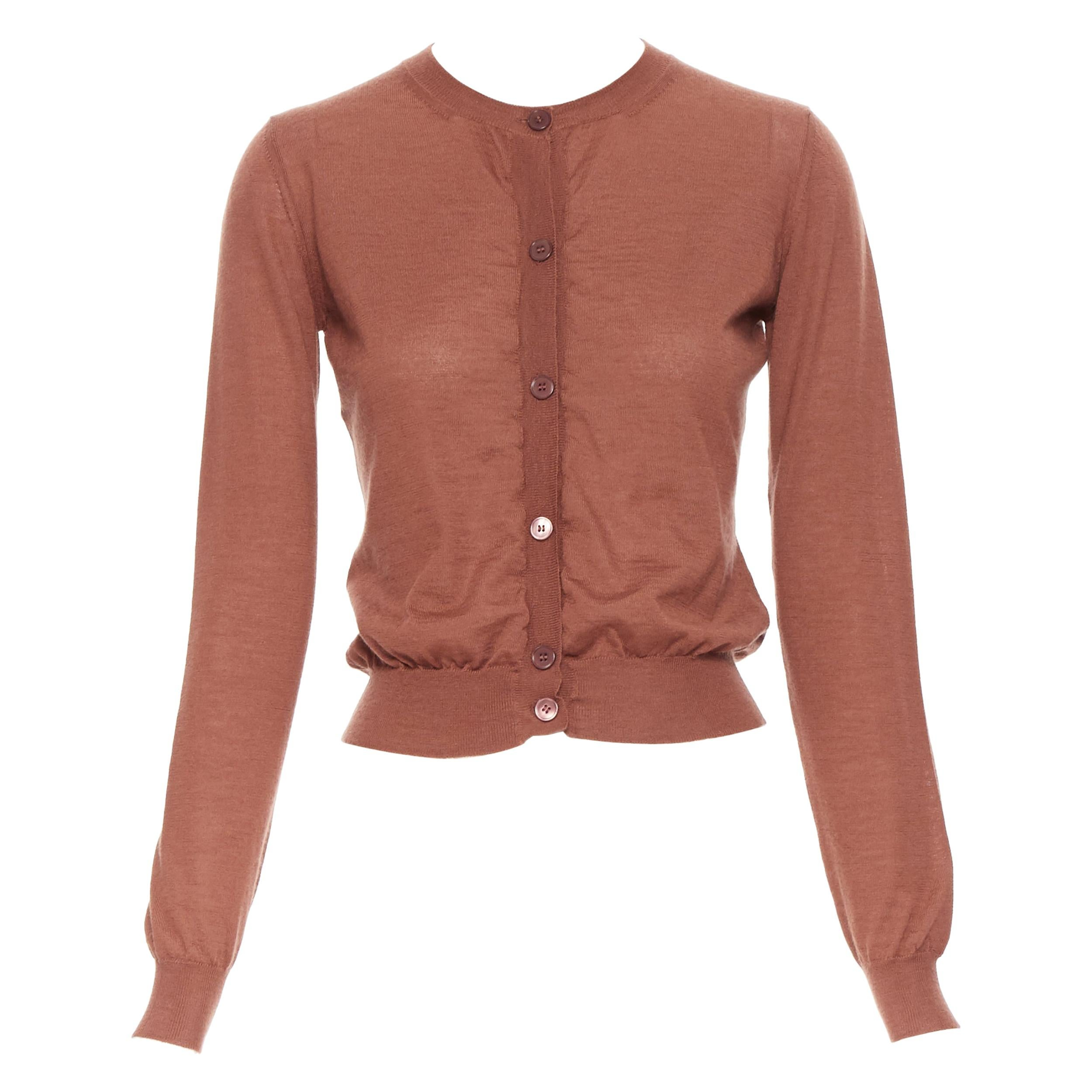MARNI 100% cashmere brich brown long sleeve button cardigan sweater IT38 XS
