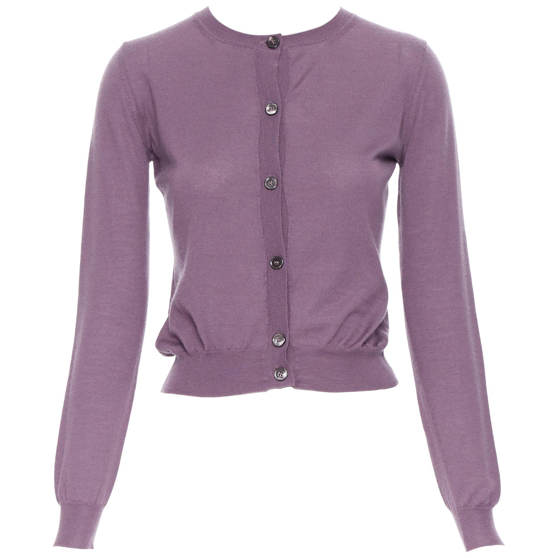 MARNI 100% cashmere purple long sleeve button front cardigan sweater IT38 XS