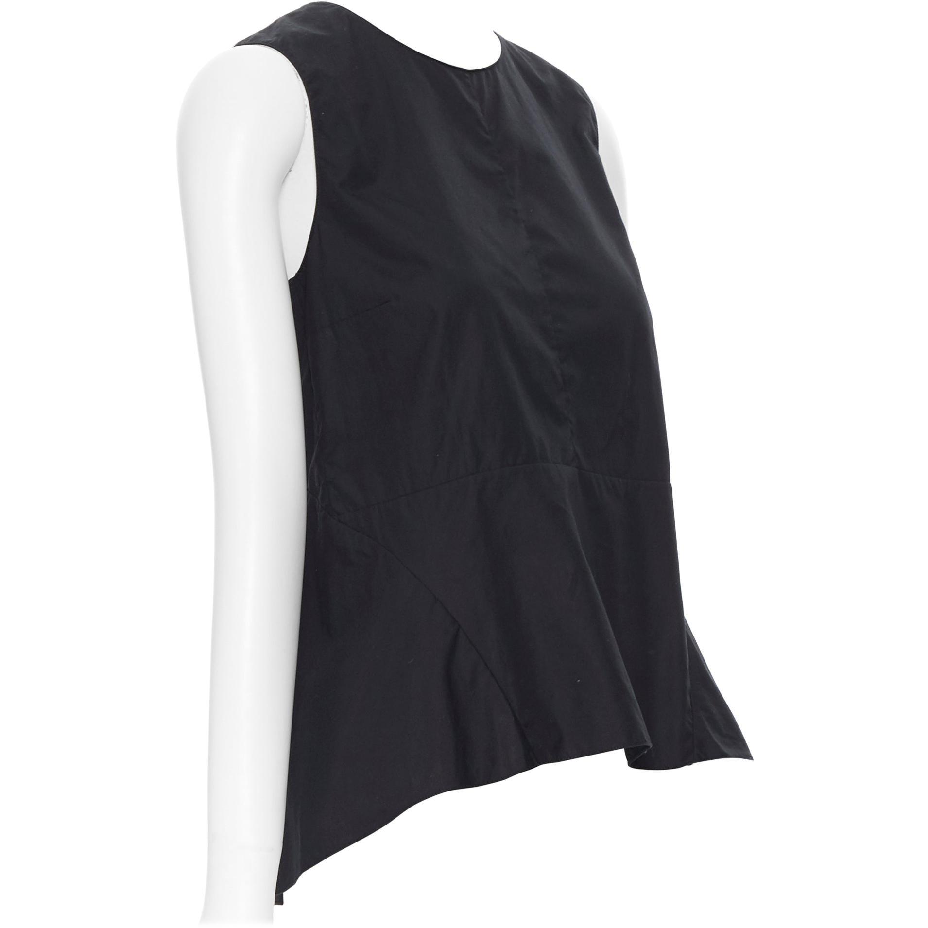 MARNI 100% cotton black curved seam flared hem sleeveless top IT38 XS