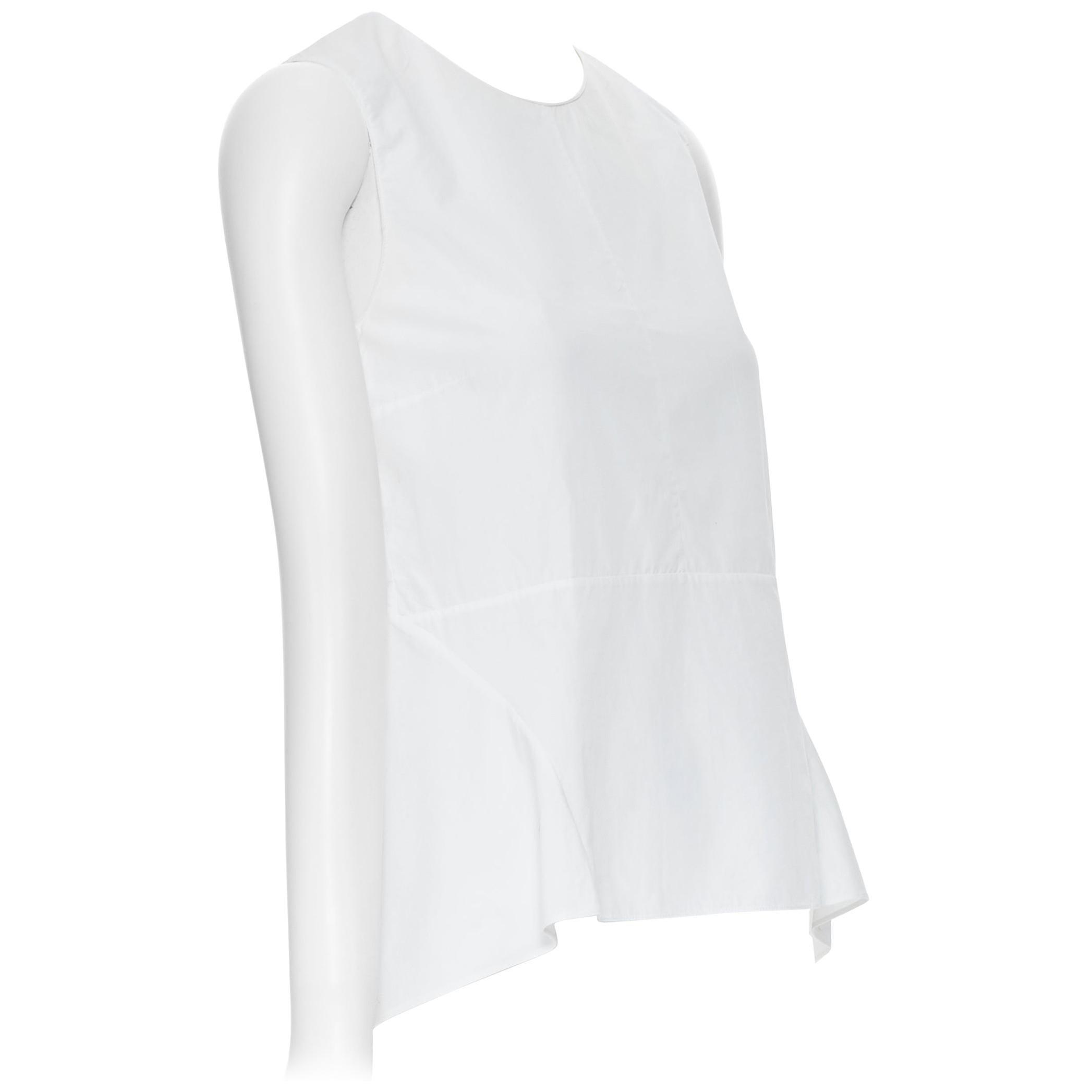 MARNI 100% cotton white curved seam flared hem sleeveless top IT38 XS
