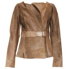 MARNI 100% vitello calf hair fur leather brown belted waist wrap jacket IT40