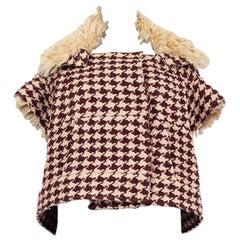 MARNI beige & burgundy HOUNDSTOOTH WOOL & SHEARLING Short SleeveJacket 40 S