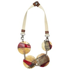 Marni Beige & Red Resin Disc Necklace