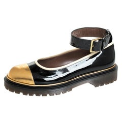 Marni Black and Gold Patent Leather Ankle Strap Ballet Flats Size 39