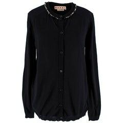 Marni Black Cashmere Crystal Embelished Cardigan - Size US 8