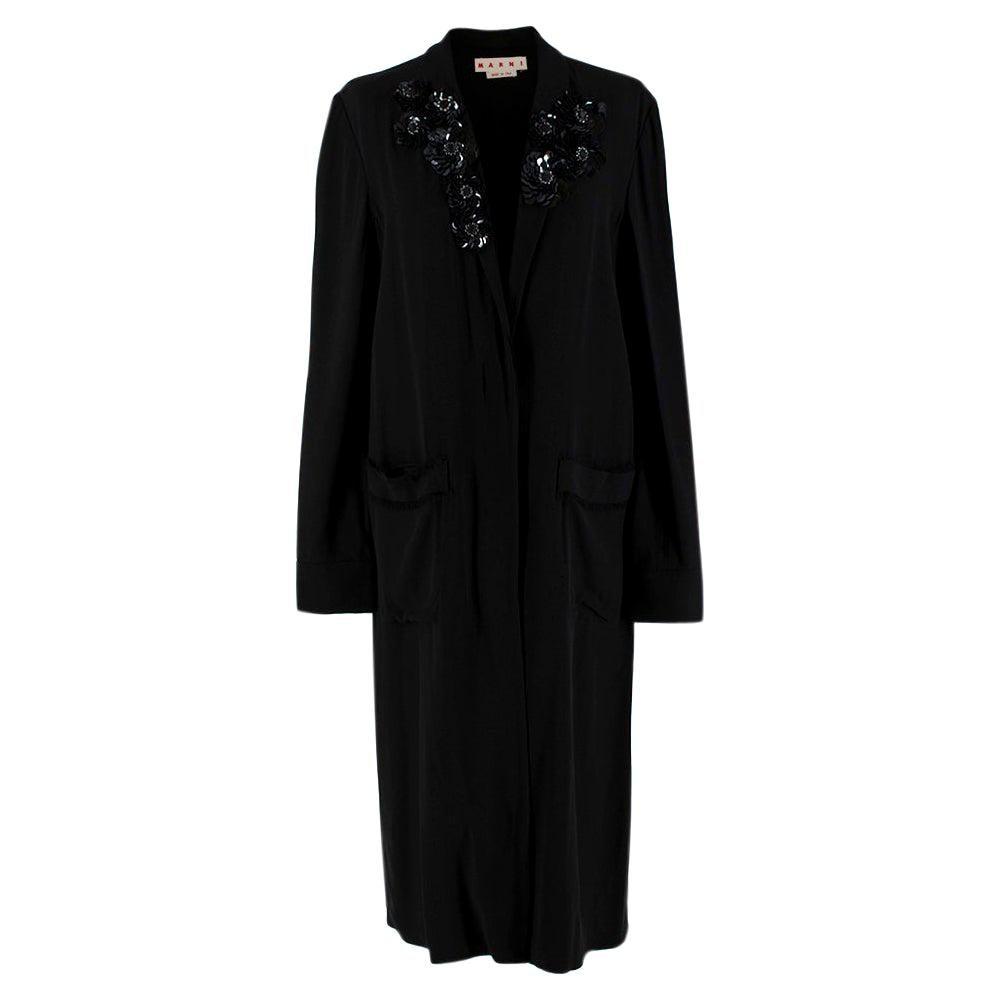Marni Black Crepe Sequin Embellished Lightweight Coat - Size US 4