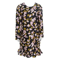 Marni Black Floral Printed Cotton Silk Ruffled Sistowbell Dress M