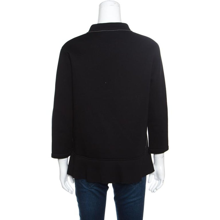 Marni Black Floral Sequin Embellished Zip Front Padded Jacket M In Good Condition For Sale In Dubai, Al Qouz 2
