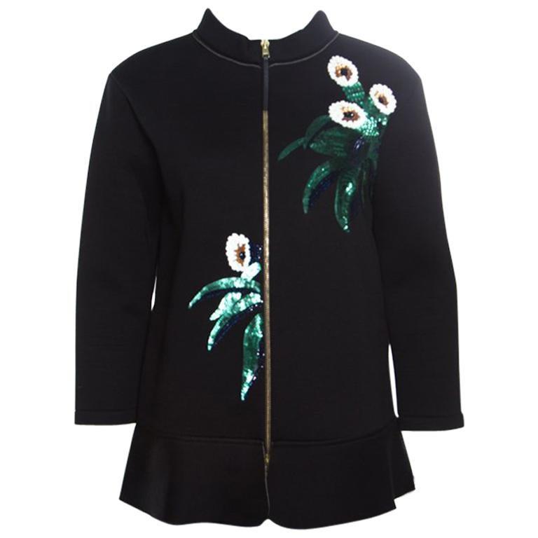 Marni Black Floral Sequin Embellished Zip Front Padded Jacket M For Sale