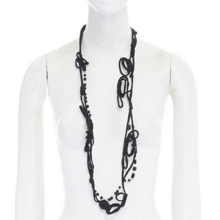 MARNI black knot tie ribbon bead embellished casual statement necklace  Brand: Marni Model Name / Style: Fabric necklace Material: Fabric Color: Black Pattern: Solid Extra Detail: Knotted necklace.  CONDITION:  Condition: Excellent, this item was