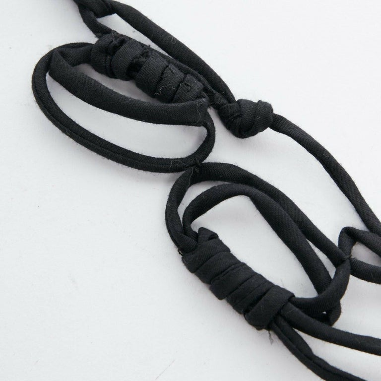 MARNI black knot tie ribbon bead embellished casual statement necklace For Sale 1