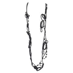 MARNI black knot tie ribbon bead embellished casual statement necklace