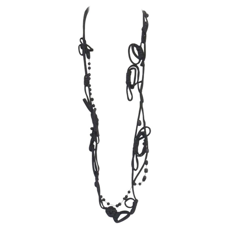 MARNI black knot tie ribbon bead embellished casual statement necklace For Sale