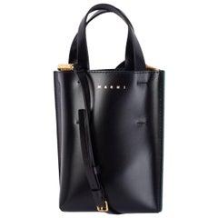MARNI black leather MUSEO MICRO Tote Bag