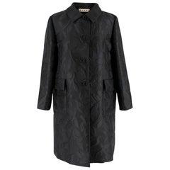 Marni Black Leaves Embroidered Coat 42 IT
