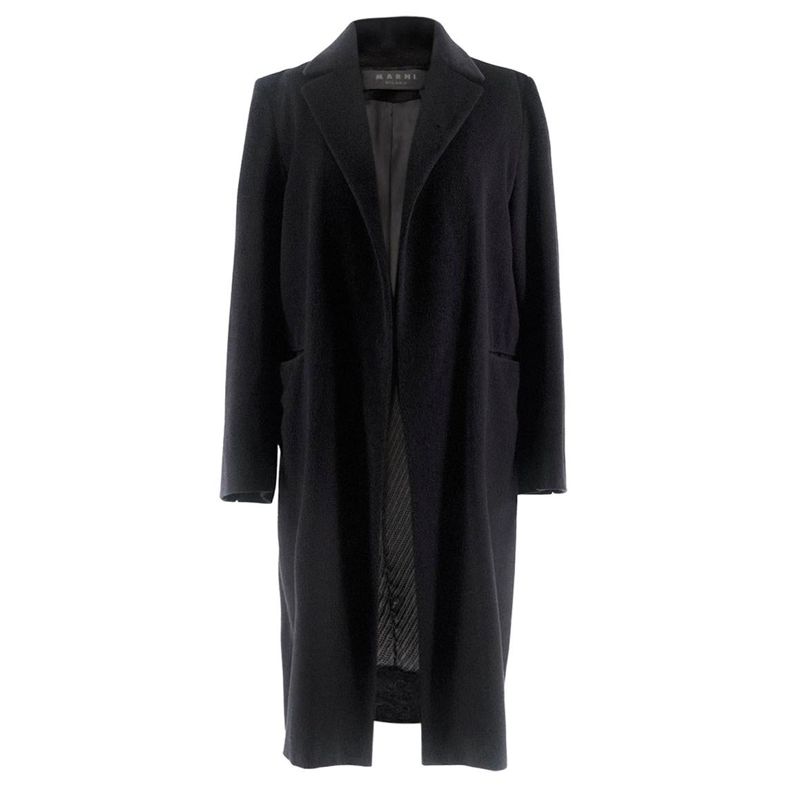 Marni Black Long Wool Coat US 6