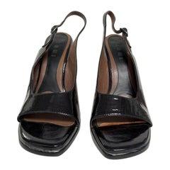 Marni black patent sling backs