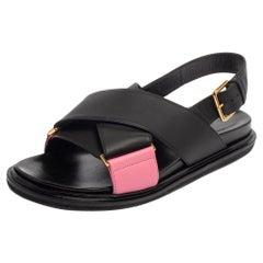 Marni Black/Pink Leather Cross-Strap Sandals Size 39.5