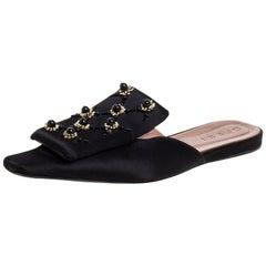 Marni Black Satin Embellished Mules Size 39