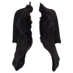 MARNI black SHEARLING Short Sleeve Jacket 38 XS