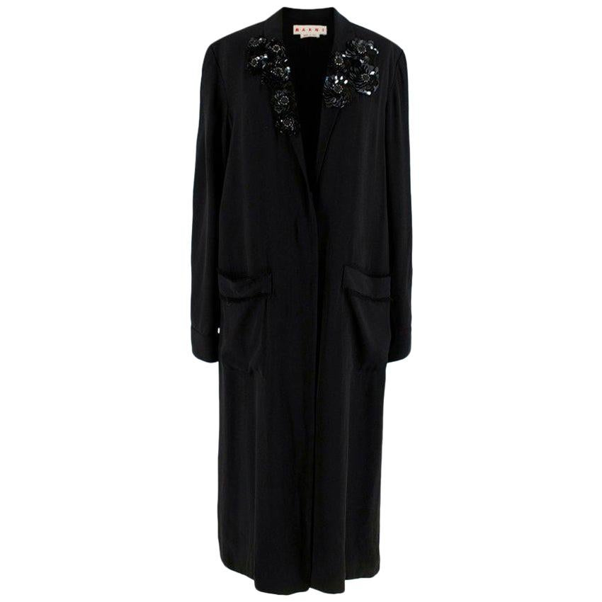 Marni Black V-Neck Embellished Longline Coat Dress - Size US 6