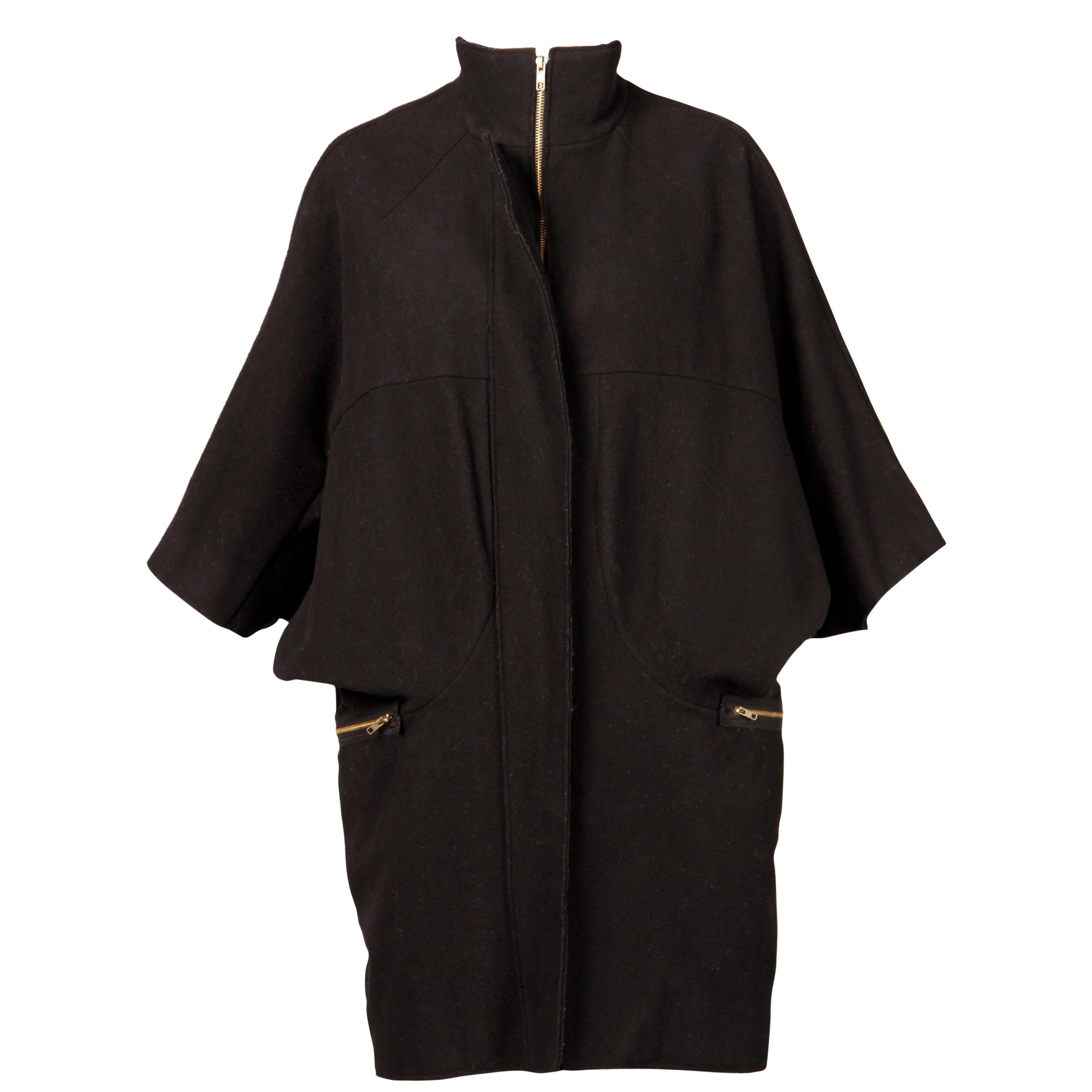 Marni Black Wool Cape Coat