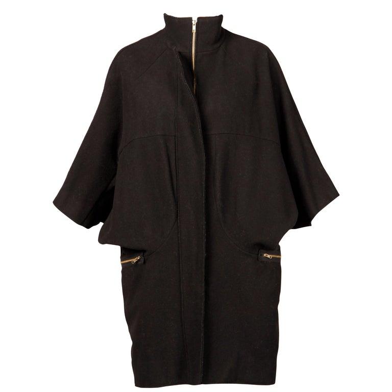 Marni Black Wool Cape Coat For Sale