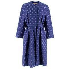 Marni Blue Textured Circle Embroidered Coat M 44
