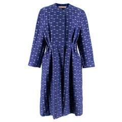 Marni Blue Textured Circle Embroidered Coat - Size US 8