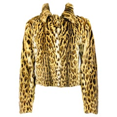 Marni Brown and Black Leopard Animal Fur Jacket Size 42