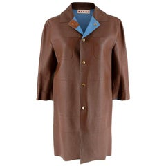 Marni Brown Leather Button-Down Boxy Lightweight Jacket - Size US 0-2