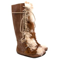 Marni Brown Leather & Fur-Panel Knee-High Lace-up Boots - Size EU 38
