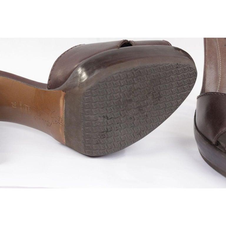 Black Marni Brown Leather Platform Sandals Heels Shoes Size 39 For Sale