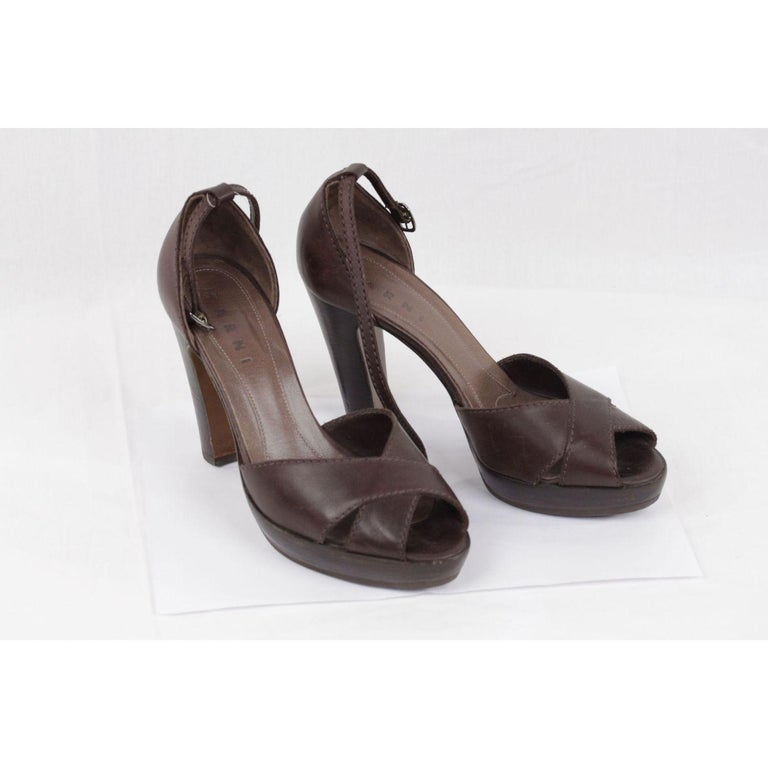 Women's or Men's Marni Brown Leather Platform Sandals Heels Shoes Size 39 For Sale